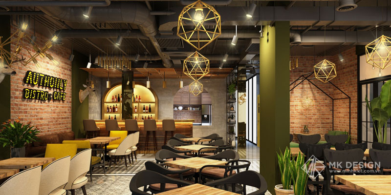 Thiết kế nội thất cafe industral