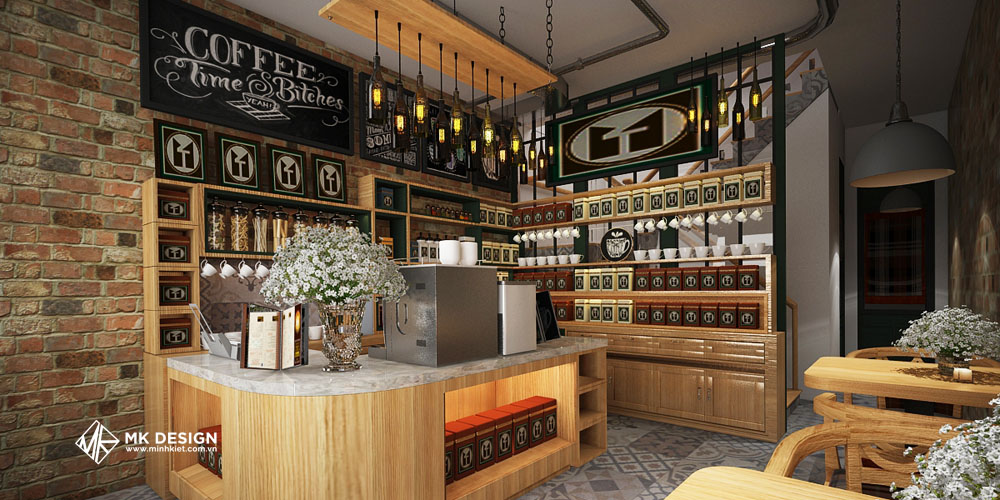 Thiết kế quán cafe phong cách công nghiệp 2