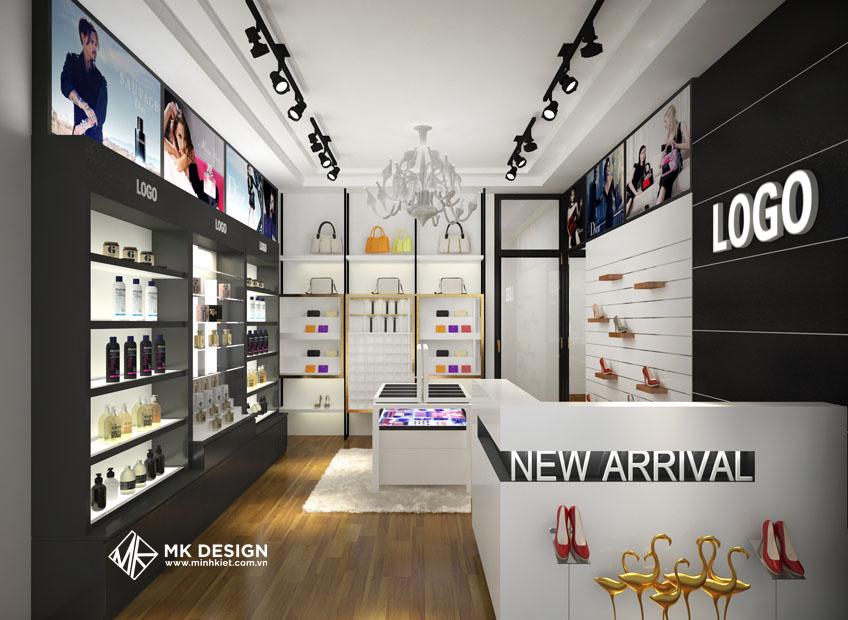 thiết kế shop mỹ phẩm theo phong cách và điểm nhấn riêng