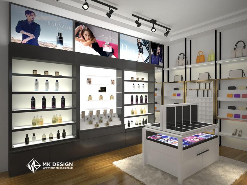 Mẫu trang trí cửa hàng mỹ phẩm