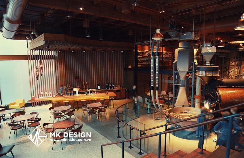 Không gian trang trí quán cafe rang xay công nghiệp