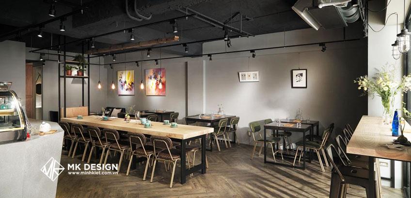 Thiết kế quán cafe đơn giản theo phong cách công nghiệp