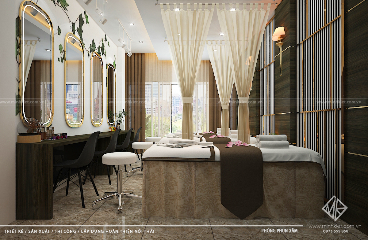 Thiết kế spa phun xăm diện tích 15m2 - Mẫu thiết kế spa phun xăm đẹp 2020